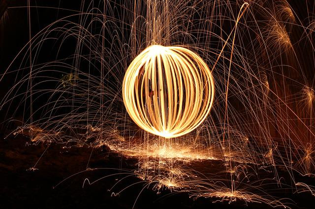 Steel Wool, Firespin, Fireball, Dark, Art, Sparks