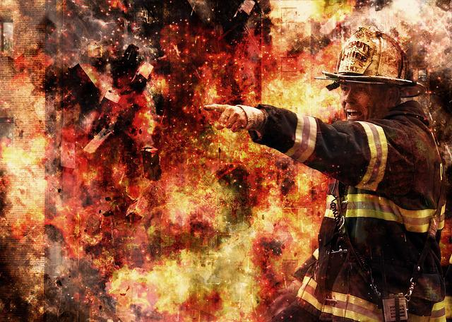 Firefighter, Fire, Flame, Witness, Outdoor, Fighting