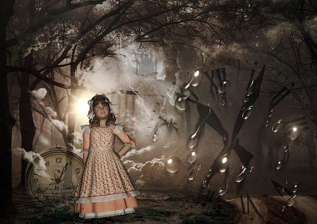 Little Girl, Wonderland, Fireflies, Raindrops, Fantasy