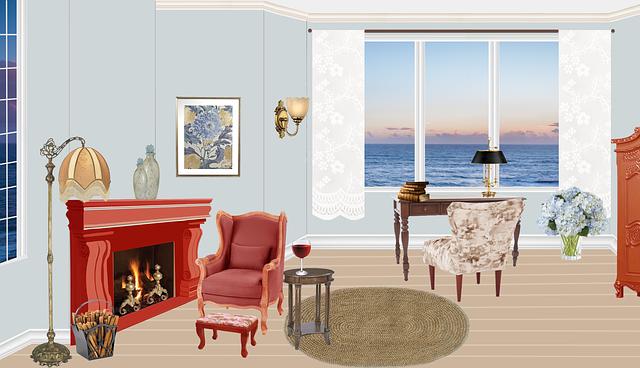 Living, Windows, Fireplace, Armchair, Hearth