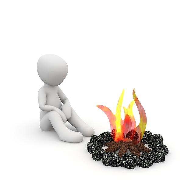 Campfire, Warm, Alone, Night, Fireplace, Heat, Flame