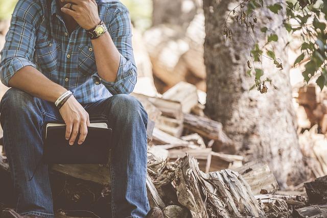Book, Firewood, Man, Person, Sitting, Wood