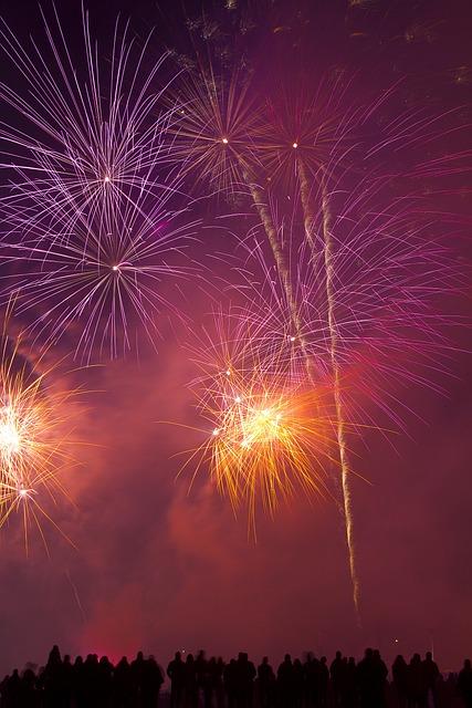 Festivities, Fireworks, Celebration, Sky, Red, Pink
