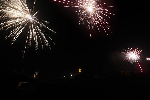 Fireworks, New Year, Christmas, Dark, Night, Party