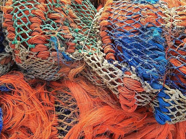 Fishing Net, Fishing Fischfang, Orange, Fischer