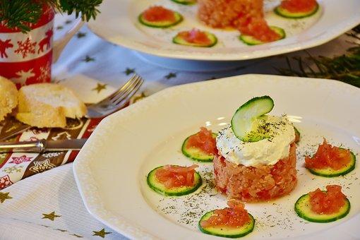 Salmon, Salmon Tartare, Tartar, Fish, Cucumber, Tomato