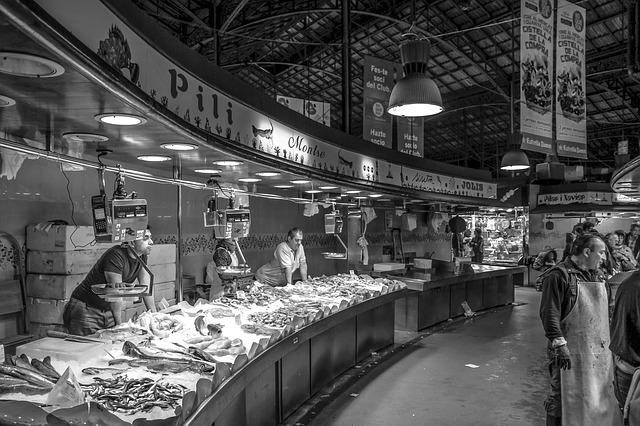 Fish Market, Seafood, Fish, Man, Food, Gray Food