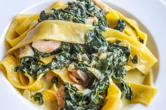 Tagliatelle, Spinach, Salmon, Fish, Noodles