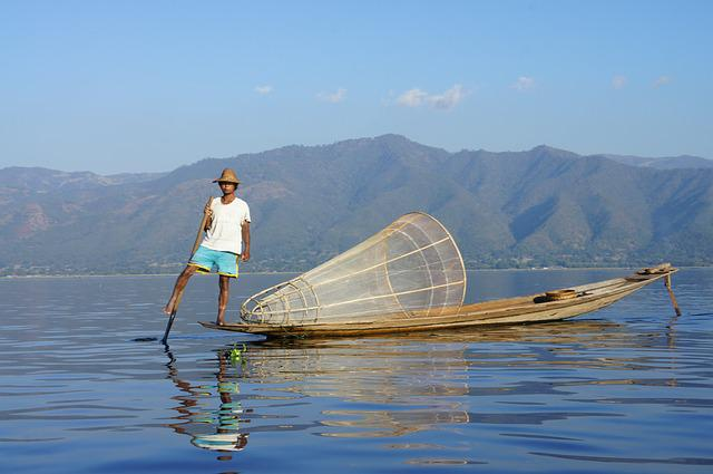 Fisherman, Inle, Brine, Lake, Inlesee, Boat