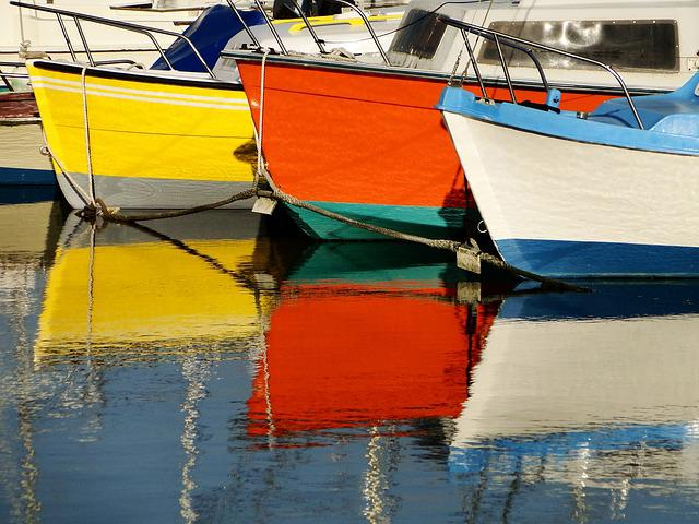 Boats, Reflections, Colors, Water, Fisherman, Mirror