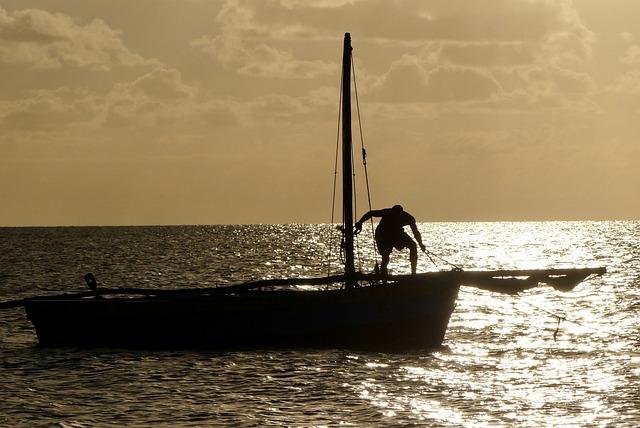 Sundown, Sea, Boat, Fisherman