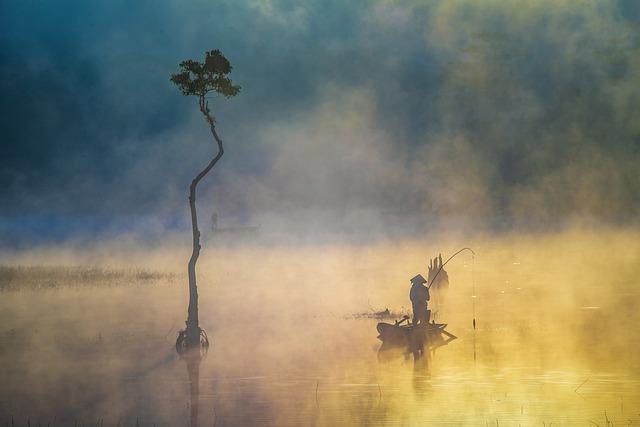 Fisherman, Boat, Lake, Tree, Fog, Sunrise