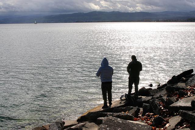 Fishing, Angler, Relax, Cloudy, Lake, Rock, Beach