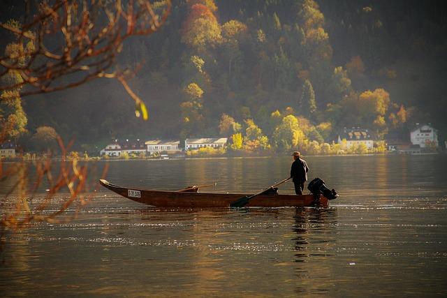 Fisherman, Lake, Fishing, Fishing Boat, Autumn