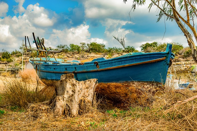 Fishing Boat, Wooden, Traditional, Grounded, Rusty