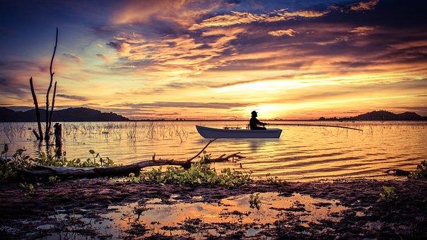 Design, Fishing, Boat, Water, Sunset, Dawn, Nature, Sea