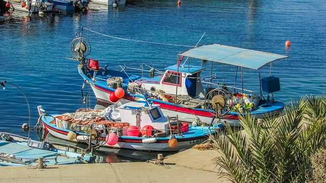 Cyprus, Xylofagou, Fishing Shelter, Boats