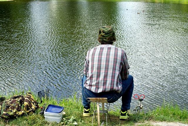 Fishing, The Fisherman, Male, Sitting, Sit, Green, Fish