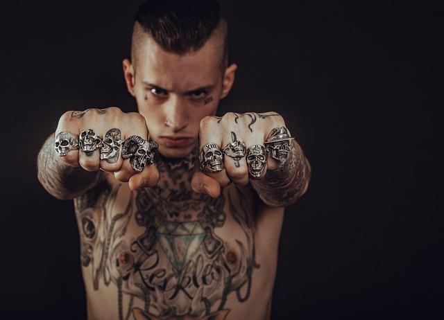 Adult, Tattoos, Body, Dark, Face, Fashion, Fierce, Fist