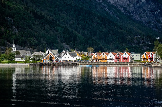 Norway, Mountains, Ship, Fjord, Water, Village, Color