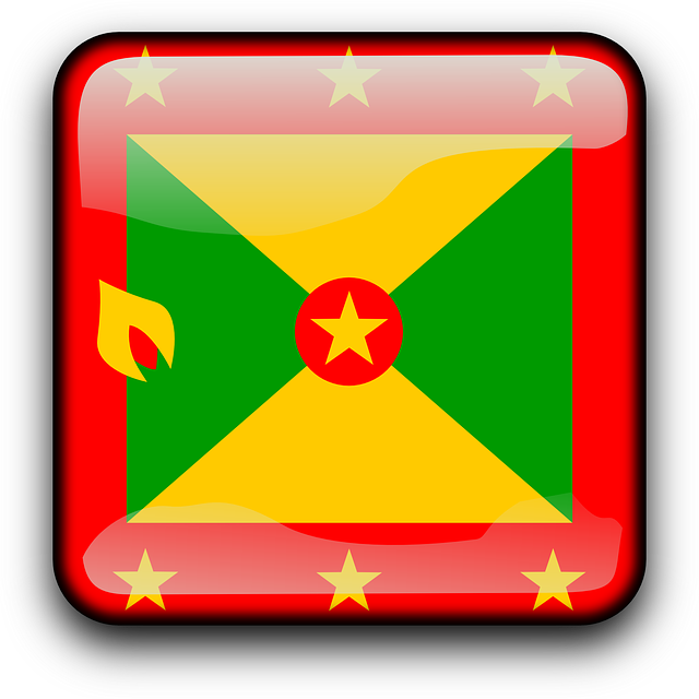 Grenada, Flag, Country, Nationality, Square, Button