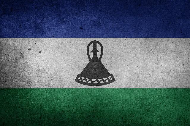 Flag, Lesotho, Africa, Grunge