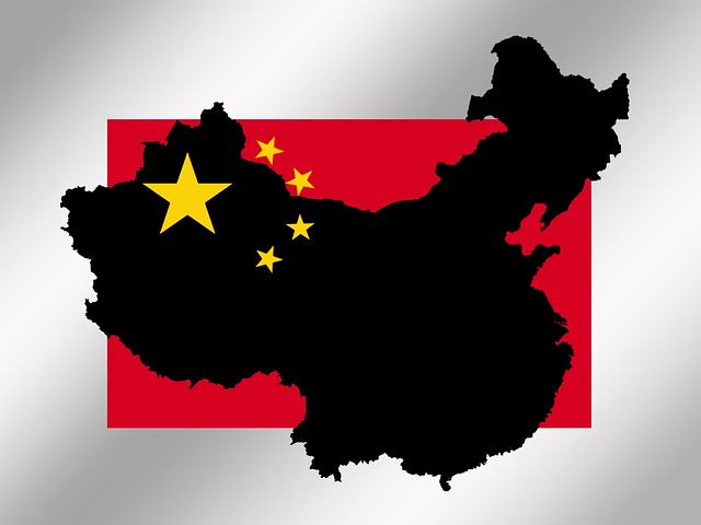 China, Map, Flag, Red, Outline, Borders, Star