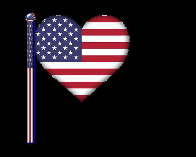 America, Heart, Flag, Usa, 3d, Art, Flag Pole, Glossy