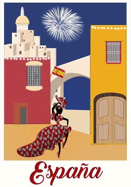 Travel Poster, Spain, Espana, Spanish Dancer, Flag