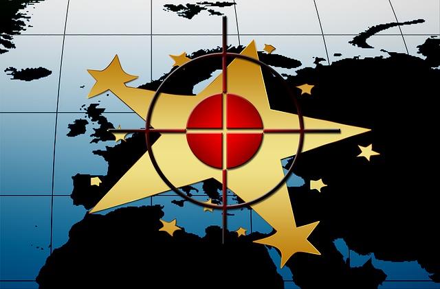 Europe, Flag, Star, Blue, Visor, Chamfer Cross, Center