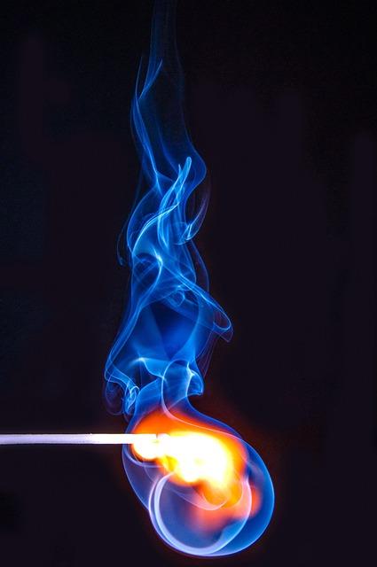 Match, Burn, Flame, Hot, Yellow, Red, Blue, Smoke