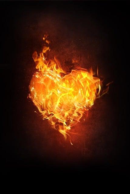 Heart, Fire, Flame, Burn, Love, Blaze, Heiss