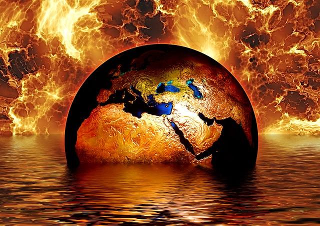 Earth, Globe, Water, Fire, Flame, Brand, Wave, Sea
