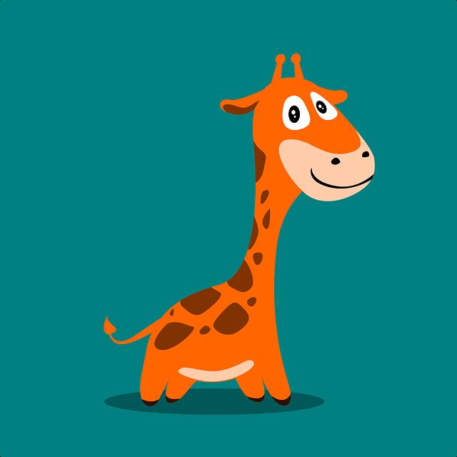 Giraffe, Mascot, Icon, Cartoon, Flat, Wild, Cute