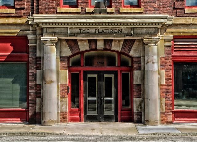 Flatiron Hotel, Omaha, Nebraska, Lodging, Facade, Doors