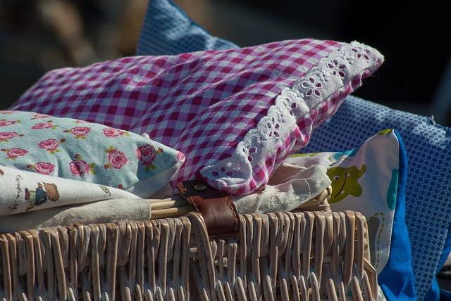 Flea Market, Pillows, Bedding, Basket