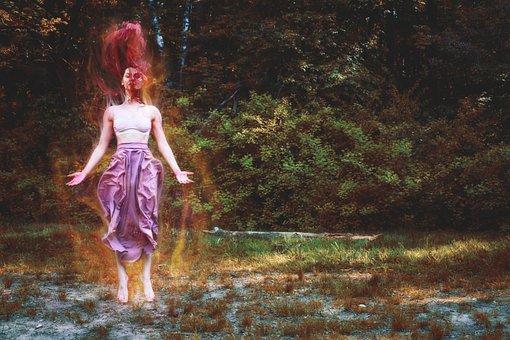 Fire, Witch, Girl, Jumping, Flies, Forest, Shaman