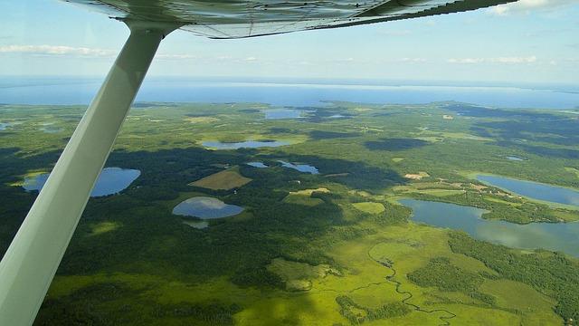 Flying, Aerial Shot, Minnesota, Lake Mille Lacs, Flight