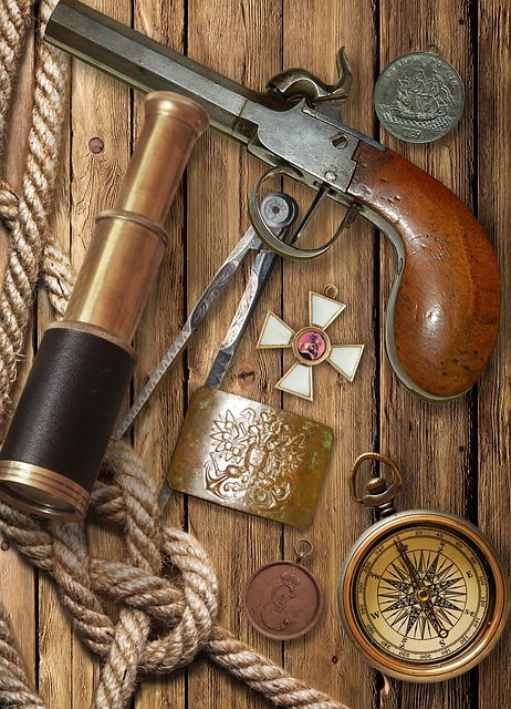 Flintlock Pistol, Spyglass, Compass, Decoration, Medal