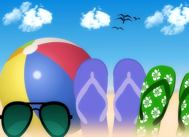 Holiday, Beach Ball, Flip Flops, Slippers, Beach Shoes