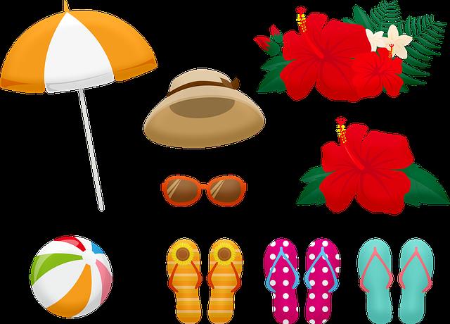 Summer Clothing, Flip Flops, Hat, Sunglasses