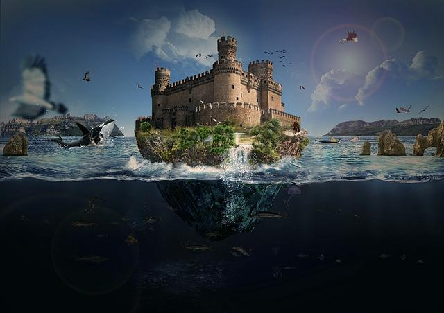 Photoshop, Manipulation, Fantazy, Floating Island