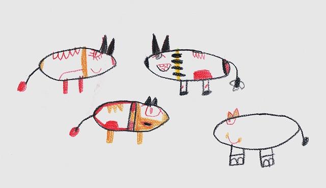 Children, Children Drawing, Flock, Drawing
