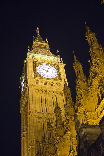 Elizabeth Tower, Nighttime, Clock, Floodlit
