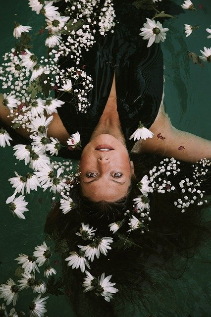 Floating, Flora, Flowers, Girl, Model, Water, Woman