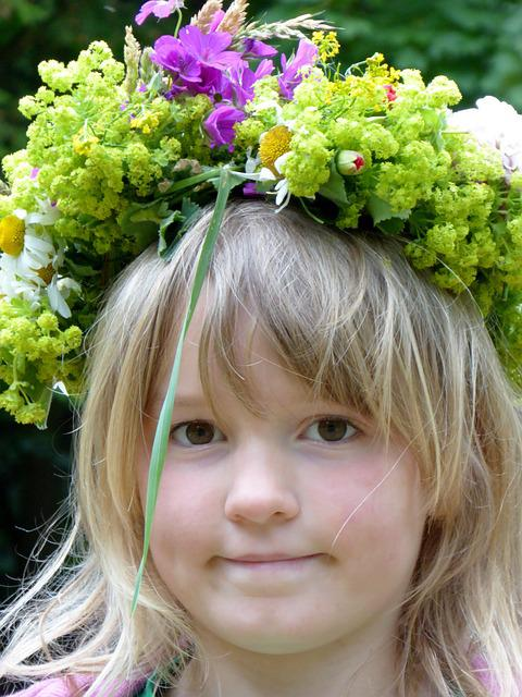 Girl, Queen, Floral Wreath, Summer, Floral Arrangement