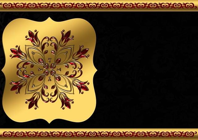 Background Image, Gold, Frame, Floral, Red, Black