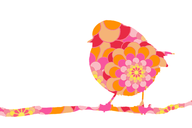 Bird, Robin, On Branch, Flower-power, Floral Design