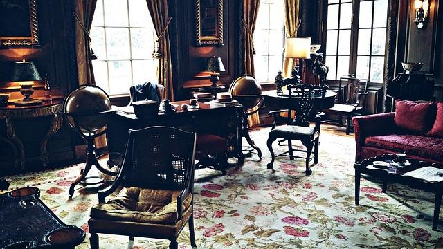 Antique, Dark, Desk, Floral, Globe, Historic Center