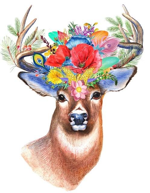 Stag, Wildflower, Floral, Boho, Bohemian, Flower